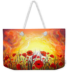 Weekender Tote Bag featuring the painting Sunset Poppies by Lilia D