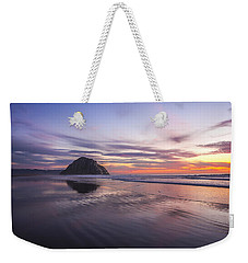 Sunset Reflections At Morro Bay Beach Rock Fine Art Photography Print Weekender Tote Bag by Jerry Cowart