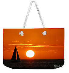 Weekender Tote Bag featuring the photograph Sunset Sailing by Kristine Merc