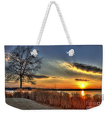 Sunset Sawgrass On Lake Oconee Weekender Tote Bag by Reid Callaway