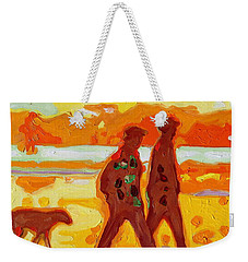 Sunset Silhouette Carmel Beach With Dog Weekender Tote Bag by Thomas Bertram POOLE