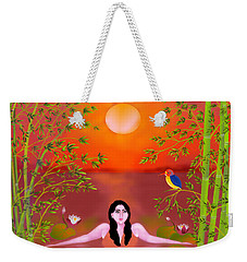 Weekender Tote Bag featuring the digital art Sunset Songs by Latha Gokuldas Panicker