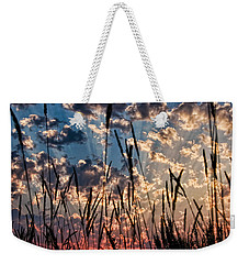 Weekender Tote Bag featuring the photograph Sunset Through The Grasses by Don Schwartz