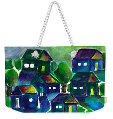 Weekender Tote Bag featuring the painting Sunset Village Watercolor by Frank Bright
