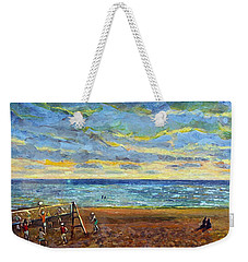Sunset Volleyball At Old Silver Beach Weekender Tote Bag by Rita Brown
