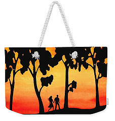 Weekender Tote Bag featuring the painting Sunset Walk by Sophia Schmierer