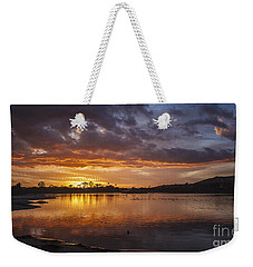 Sunset With Clouds Over Malibu Beach Lagoon Estuary Weekender Tote Bag by Jerry Cowart