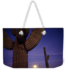 Sunset With Moonise Behind Saguaro Cactus In Desert Southwest Ar Weekender Tote Bag