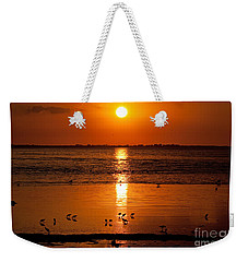 Weekender Tote Bag featuring the photograph Sunset With The Birds Photo by Meg Rousher