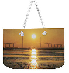 Weekender Tote Bag featuring the photograph Sunshine Skyway Bridge Sunrise by Steven Sparks