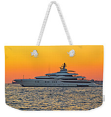 Superyacht On Yellow Sunset View Weekender Tote Bag