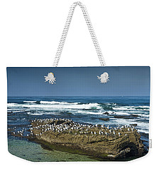 Surf Waves At La Jolla California With Gulls Perched On A Large Rock No. 0194 Weekender Tote Bag