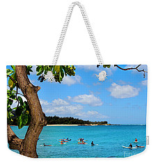 Weekender Tote Bag featuring the photograph Surfers In Paradise by Kristine Merc