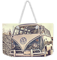 Surfer's Vintage Vw Samba Bus At The Beach Weekender Tote Bag