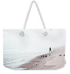 Weekender Tote Bag featuring the photograph Surfing Where The Ocean Meets The Sky by Brooke T Ryan
