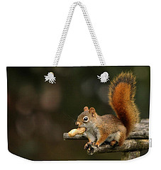 Surprised Red Squirrel With Nut Portrait Weekender Tote Bag