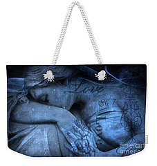 Surreal Blue Sad Mourning Weeping Angel Lost Love - Starry Blue Angel Weeping With Love Script Weekender Tote Bag by Kathy Fornal