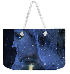 Surreal Fantasy Celestial Blue Angelic Face With Stars Weekender Tote Bag