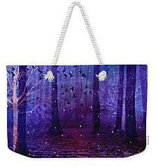 Surreal Fantasy Starry Night Purple Woodlands - Purple Blue Fantasy Nature Fairy Lights  Weekender Tote Bag by Kathy Fornal