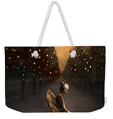 Surreal Gothic Angel Haunting Emotive Angel Sitting On Bench -fantasy Surreal Gothic Angel Prints Weekender Tote Bag