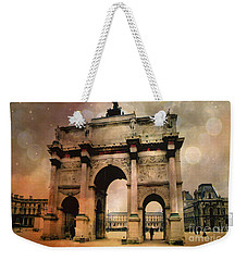 Louvre Museum Arc De Triomphe Louvre Arch Courtyard Sepia- Louvre Museum Arc Monument Weekender Tote Bag by Kathy Fornal