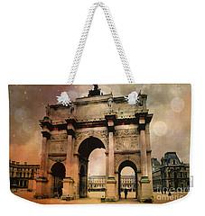 Louvre Museum Arc De Triomphe Louvre Arch Courtyard Sepia- Louvre Museum Arc Monument Weekender Tote Bag