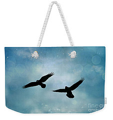 Surreal Ravens Crows Flying Blue Sky Stars Weekender Tote Bag by Kathy Fornal