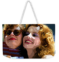 Susan Sarandon And Geena Davies Alias Thelma And Louis - Watercolor Weekender Tote Bag by Doc Braham