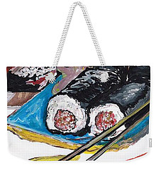 Weekender Tote Bag featuring the painting Sushi Bar Painting by Ecinja Art Works
