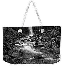 Svartifoss Waterfall In Black And White Weekender Tote Bag