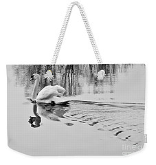 Weekender Tote Bag featuring the photograph Swan Elegance by Simona Ghidini
