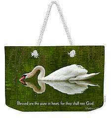 Swan Heart Bible Verse Greeting Card Original Fine Art Photograph Print As A Gift Weekender Tote Bag by Jerry Cowart
