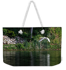 Weekender Tote Bag featuring the photograph Swan In Flight by Eleanor Abramson