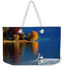 Beautiful Autumn Swan At Lake Schiliersee Germany  Weekender Tote Bag