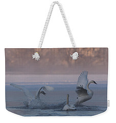 Weekender Tote Bag featuring the photograph Swans Chasing by Patti Deters