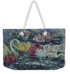 Swans In Lilies  Weekender Tote Bag
