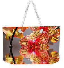 Sweet Orchid Reflection Weekender Tote Bag by Judy Palkimas
