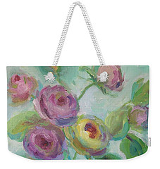 Weekender Tote Bag featuring the painting Sweetness Floral Painting by Mary Wolf