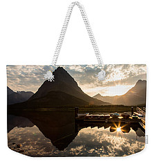 Swiftcurrent Lake Boats Reflection And Flare Weekender Tote Bag