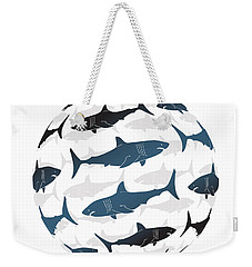 Swimming Blue Sharks Around The Globe Weekender Tote Bag by Amy Kirkpatrick