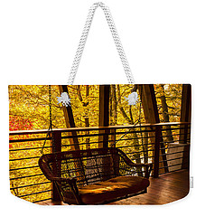 Swinging In Autumn Trees Original Photograph Weekender Tote Bag by Jerry Cowart