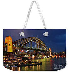 Sydney Harbour Bridge By Night Weekender Tote Bag by Kaye Menner
