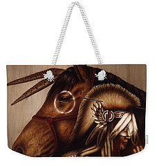 Weekender Tote Bag featuring the painting Symbionts by Pat Erickson