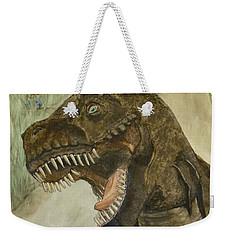 Weekender Tote Bag featuring the painting T-rex..... Run by Kelly Mills