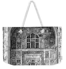 Taj Mahal Close Up In Black And White Weekender Tote Bag by Amanda Stadther
