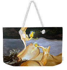 Weekender Tote Bag featuring the painting Takeoff The Touch Despegue Del Tacto by Lazaro Hurtado
