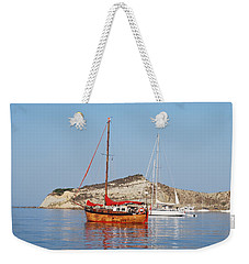Weekender Tote Bag featuring the photograph Tall Ship by George Katechis
