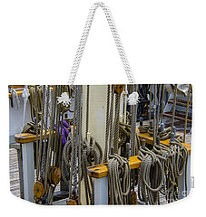 Weekender Tote Bag featuring the photograph Tall Ship Lines by Dale Powell