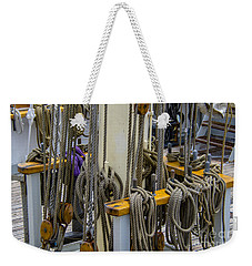 Tall Ship Lines And Blocks Weekender Tote Bag by Dale Powell