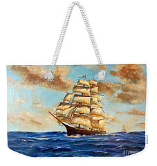 Tall Ship On The South Sea Weekender Tote Bag by Lee Piper